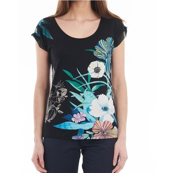 Desigual fekte színes virágos lezser rövidujjú női pamut póló Ts Ctistie