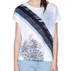Desigual kék fehér vékony lenvászon női póló Ts Bernice(XS)