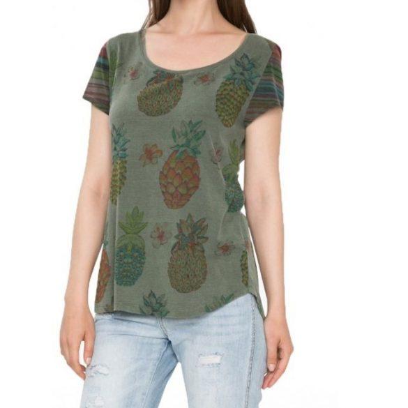 Desigual zöld ananász mintás  női pamut póló Ts Camille