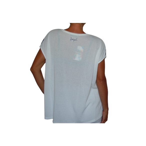 Desigual póló fehér csíkos Ts Unforgetable(XS)