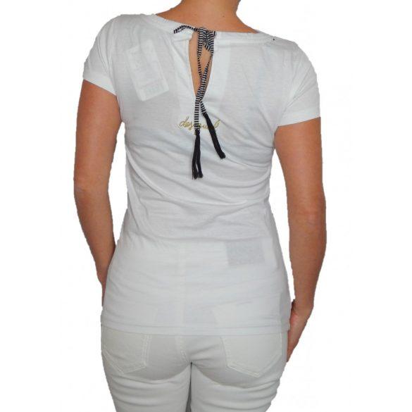 Desigual fehér pink szivescskés női pamut póló Ts Simona