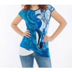 Desigual kék húzott elejű női pamut póló Ts Drizella