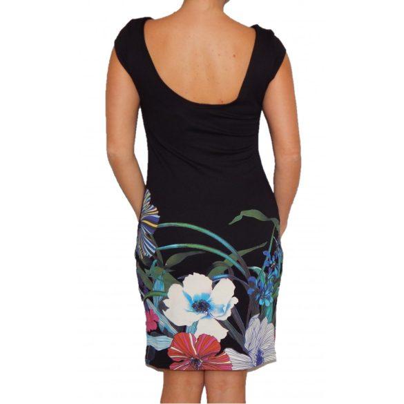 Desigual fekete rövidujjú színes virágos mandalás női ruha Vest Anthony