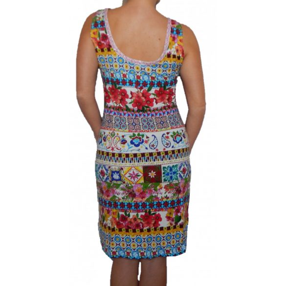 Desigual színes virágos ujjatlan pamut ruha Vest Baptispo