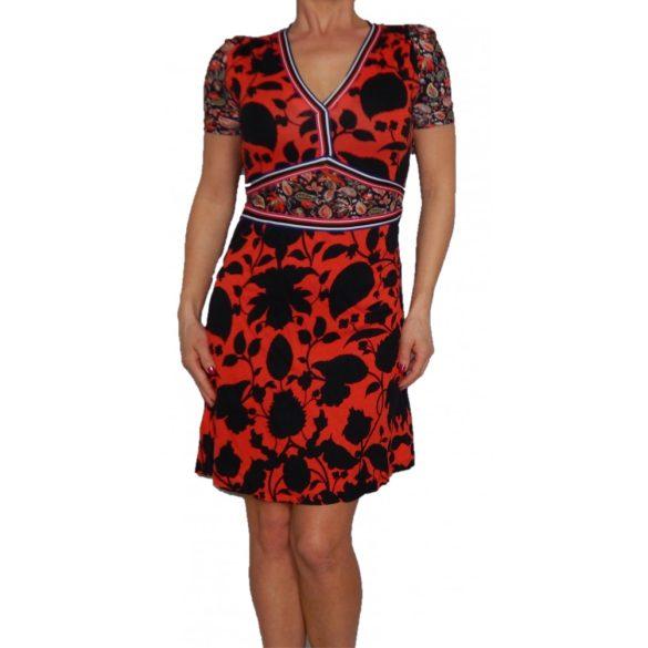 Desigual piros fekete rövidujjú női pamut ruha Vest Celestino