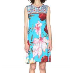 Desigual kék színes virágos mandalás nyári pamut ruha Vest Dario