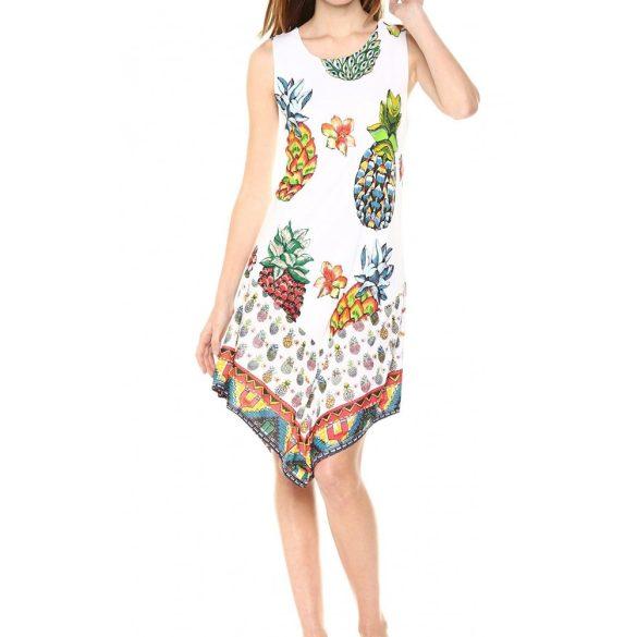 Desigual fehér színes ananászos mintás nyári pamut ruha Vest Rouses