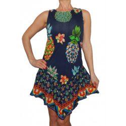 Desigual sötétkék színes virágos és ananászos ujjatlan női ruha Vest Encarnacion