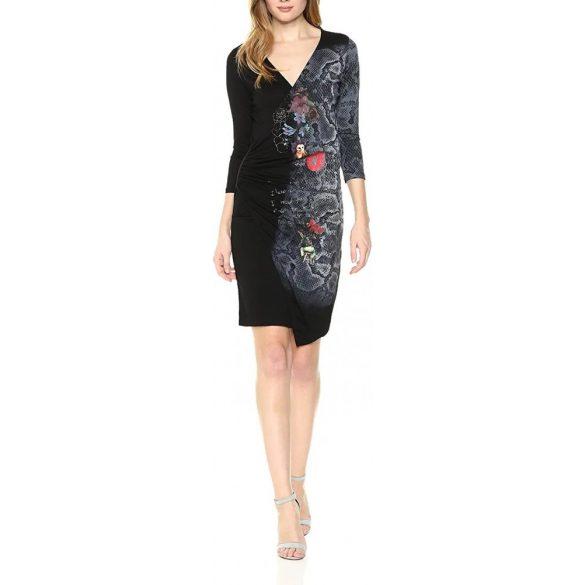 Desigual fekete virágos kényelmes pamut ruha Vest Next to me
