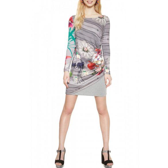 Desigual szürke állat mintás hosszú ujjú női pamut ruha Vest Diana