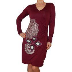Desigual bordó mandalás hosszú ujjú női rugalmas pamut ruha Vest Abigail