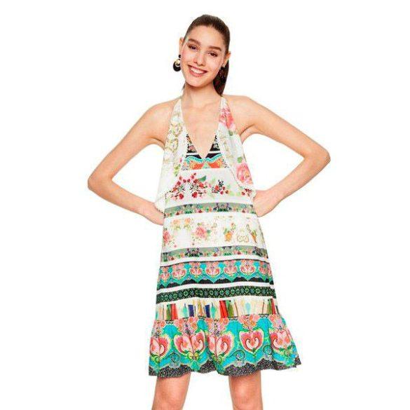 Desigual krémfehér színes virágos nyári női ruha Vest Kilian