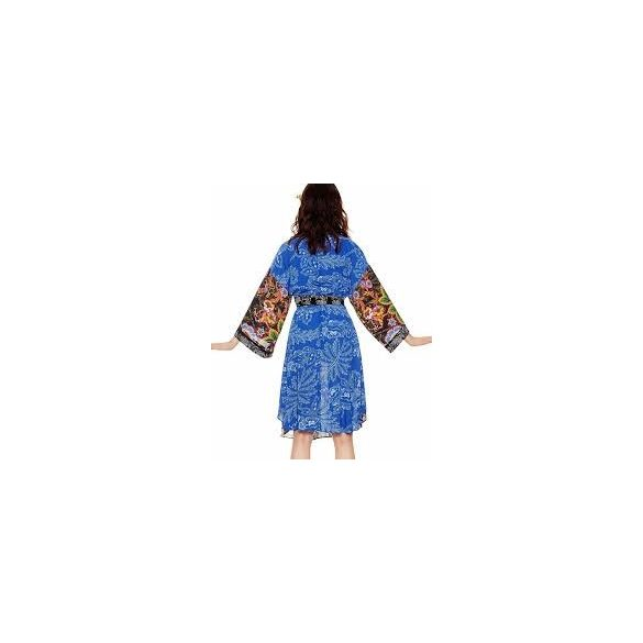 Desigual színes virágmintás japánujjas lenge női ruha Vest Macarena