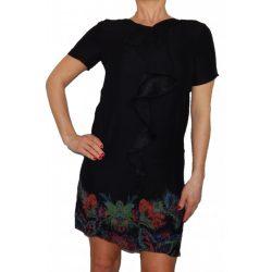 Desigual fekete színes virágos rövidujjú fodros női ruha Vest Octavio