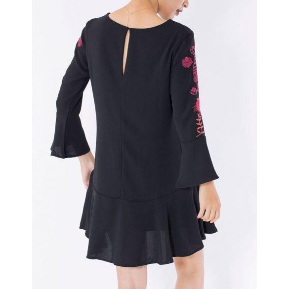 Desigual fekete hímzet harangujjú női ruha Vest Raimundo