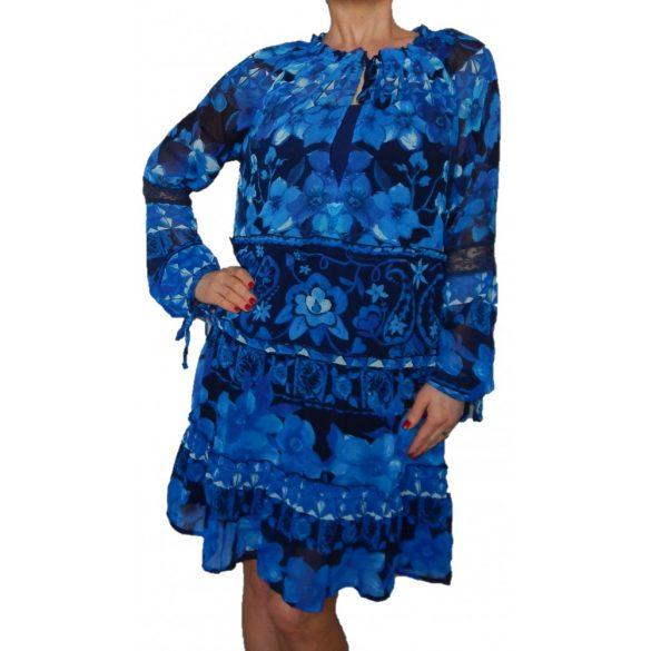 Desigual lenge kék női hosszú ujjú ruha Vest Linda