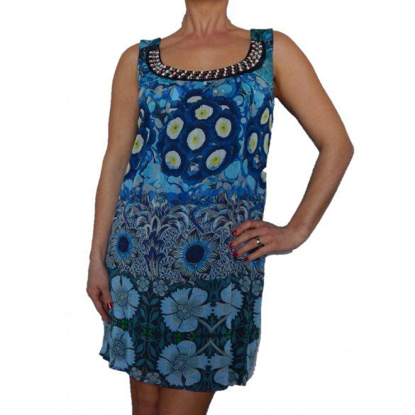 Desigual kék virágos lenge női ujjatlan ruha Vest Francoise