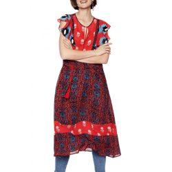 Desigual piros kék hosszú női ruha Vest Sigrid