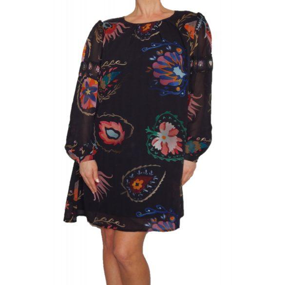 Desigual fekete színes virágos bő fazonő női ruha Vest Jane