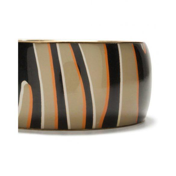 Desigual barna fekete arany zebra csíkos vastag karperec