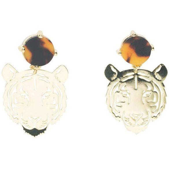 Desigual tigrises bross arany színű lógós fülbevaló