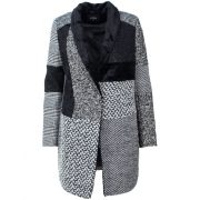 Desigual fekete fehér gyapjú  hosszított női kabát Abrig Merlon