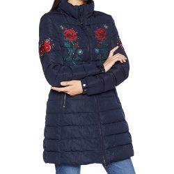 Desigual sötétkék hímzett virágos női télikabát Padded Flash