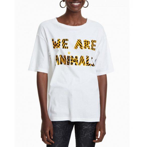 Desigual póló fehér pamut afrikai állat mintás Ts Nala