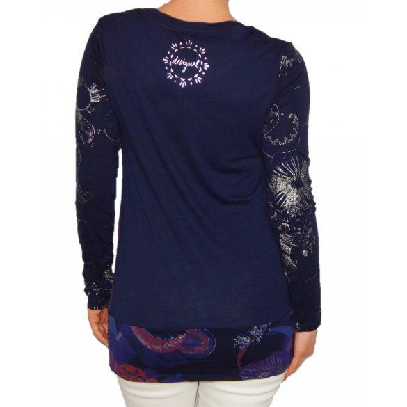 Desigual sötétkék lila ezüst nyomatos női hosszú ujjú póló Ts Marina