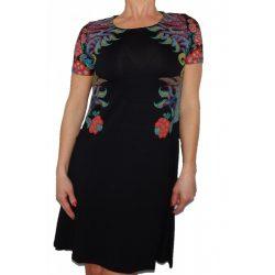 Desigual feket virágos röviidujjú női pamut ruha Vest Mara
