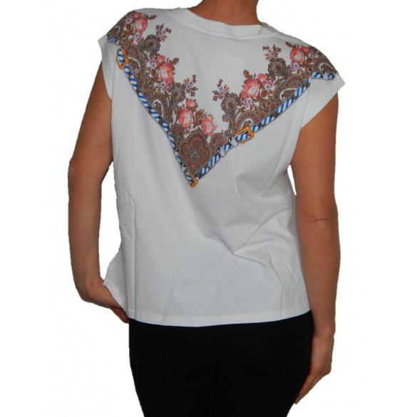 Desigual póló fehér virágmintás ujjatlan Ts Sila