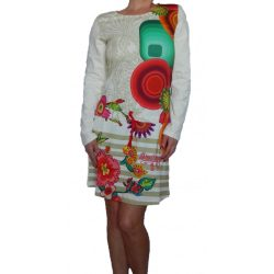 Desigual krémfehér színes mandala mintás hosszú ujjú női hálóruha