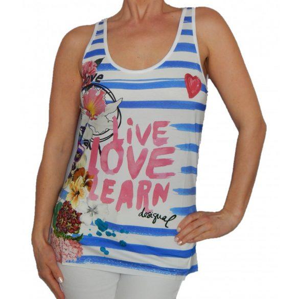 Desigual fehér kék szíkos női nyári trikó Ts blue summer