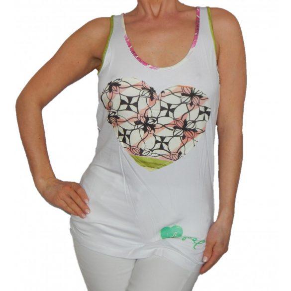 Desigual fehér virágos szív mintás női nyári trikó Ts ss straps botanic