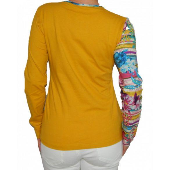 Desigual sárga szív mintás hosszúujjú női pamut felső