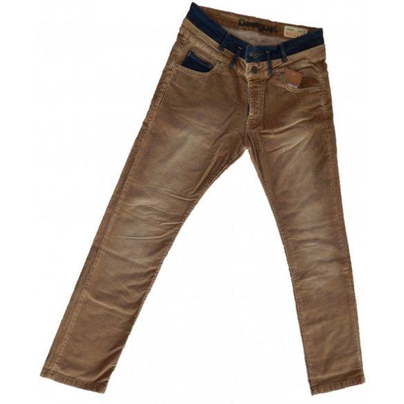 Desigual férfi barna kordbársony nadrág Pant Pana Patch 2