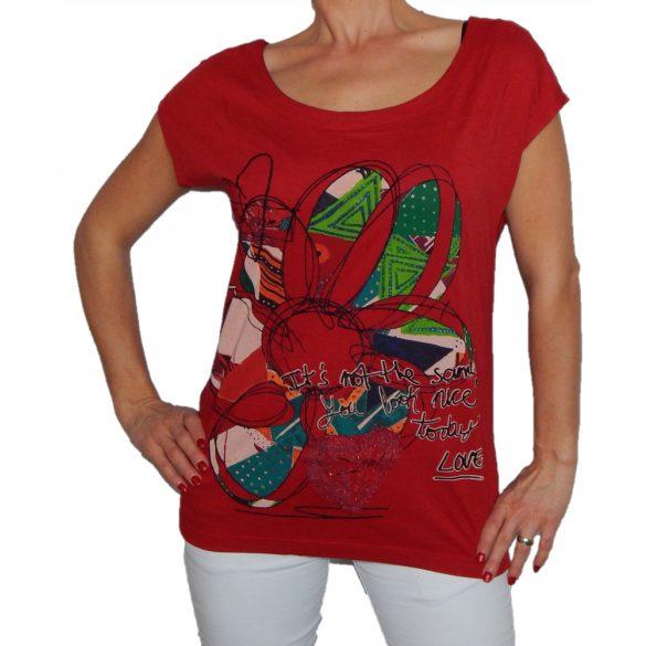 Desigual piros rövidujjú felső Ts Cristina