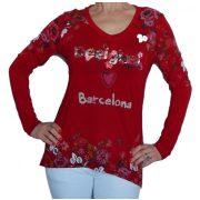 Desigual piros hosszú ujjú felső Ts Barcelona