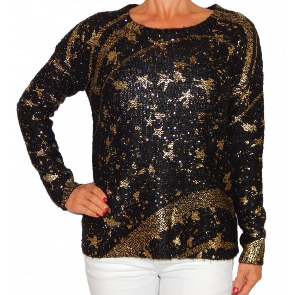 Desigual fekete-arany csillagos kötött női pulóver Jers Mary