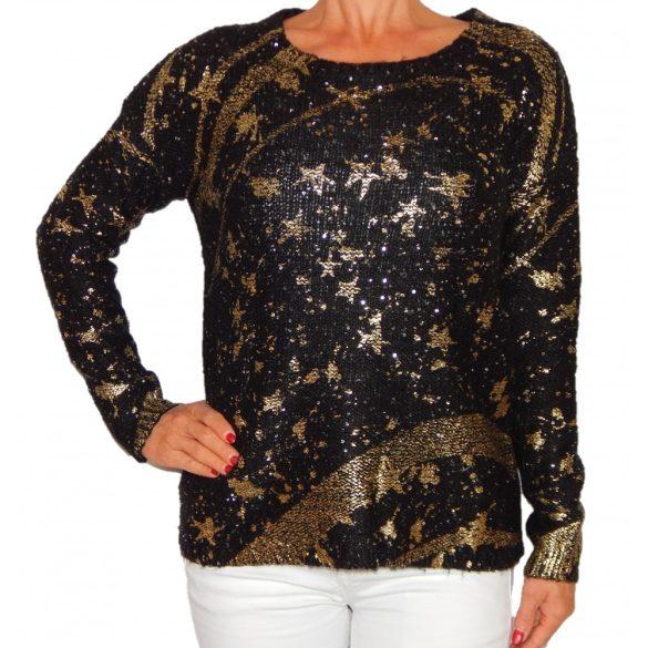 Desigual fekete-arany csillagos kötött női pulóver Jers Mary(M)