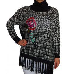 Desigual fekete párducmintás gyapjú garbós pulóver Jers Ari