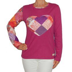 Desiugla pink szív mintás hosszúujjú női pamut felső