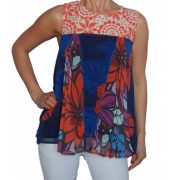 Desigual ujjatlan blúz Ts Blus Top Pleats