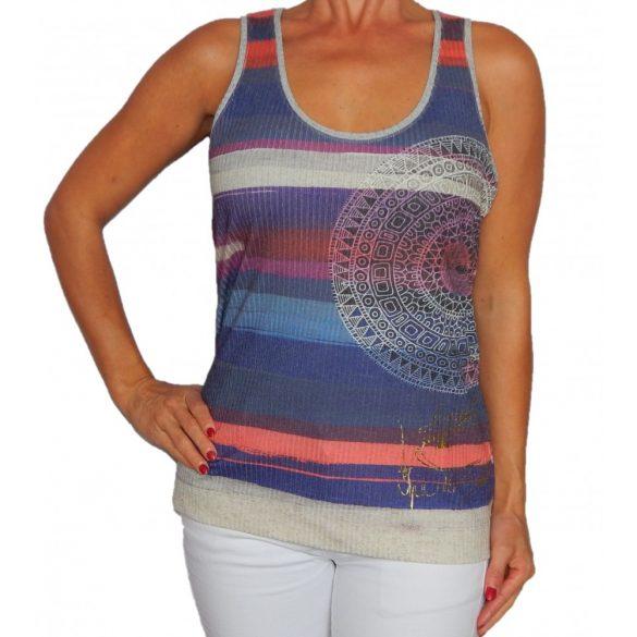 Desigual lila csíkos pamut női trikó