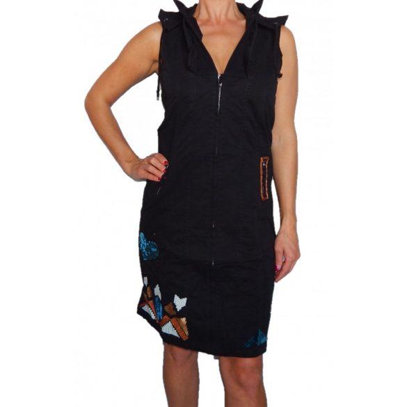 Desigual fekete ujjatlan kapucni pamutvászon ruha Vest Ami