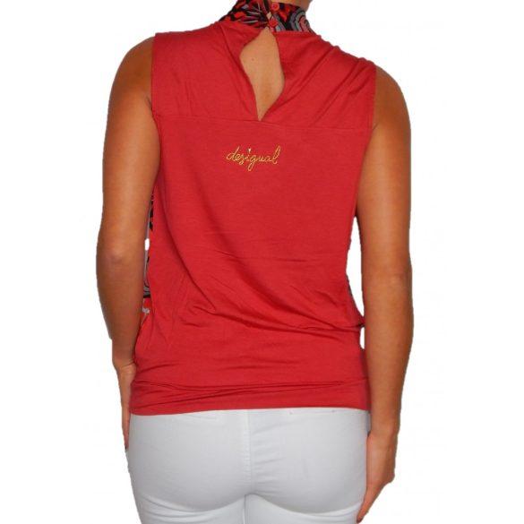 Desigual ujjatlan piros pamut női blúz