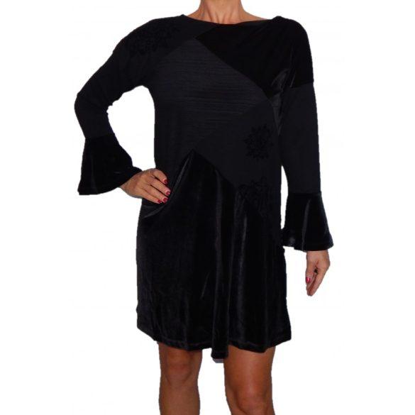 Desigual fekete harangujjú bársony ruha Vest Nina