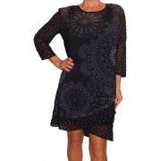 Desigual fekete párducmintás mandalás hosszú ujjú női ruha Vest Mireia