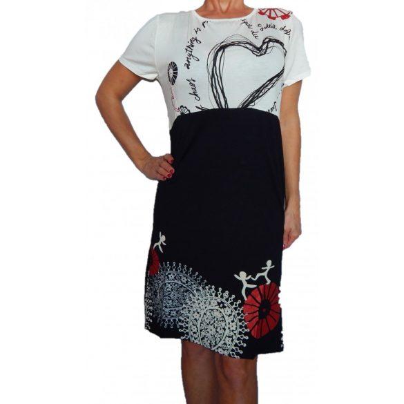 Desigual fekete fehér rövidujjú női pamut ruha Vest Emily