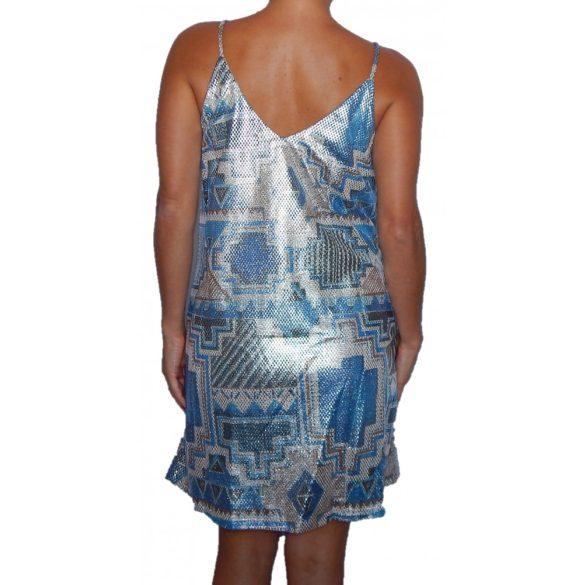 Desigual kígyóbőr mintás fényes spagetti pántos party ruha Vest Dorotea
